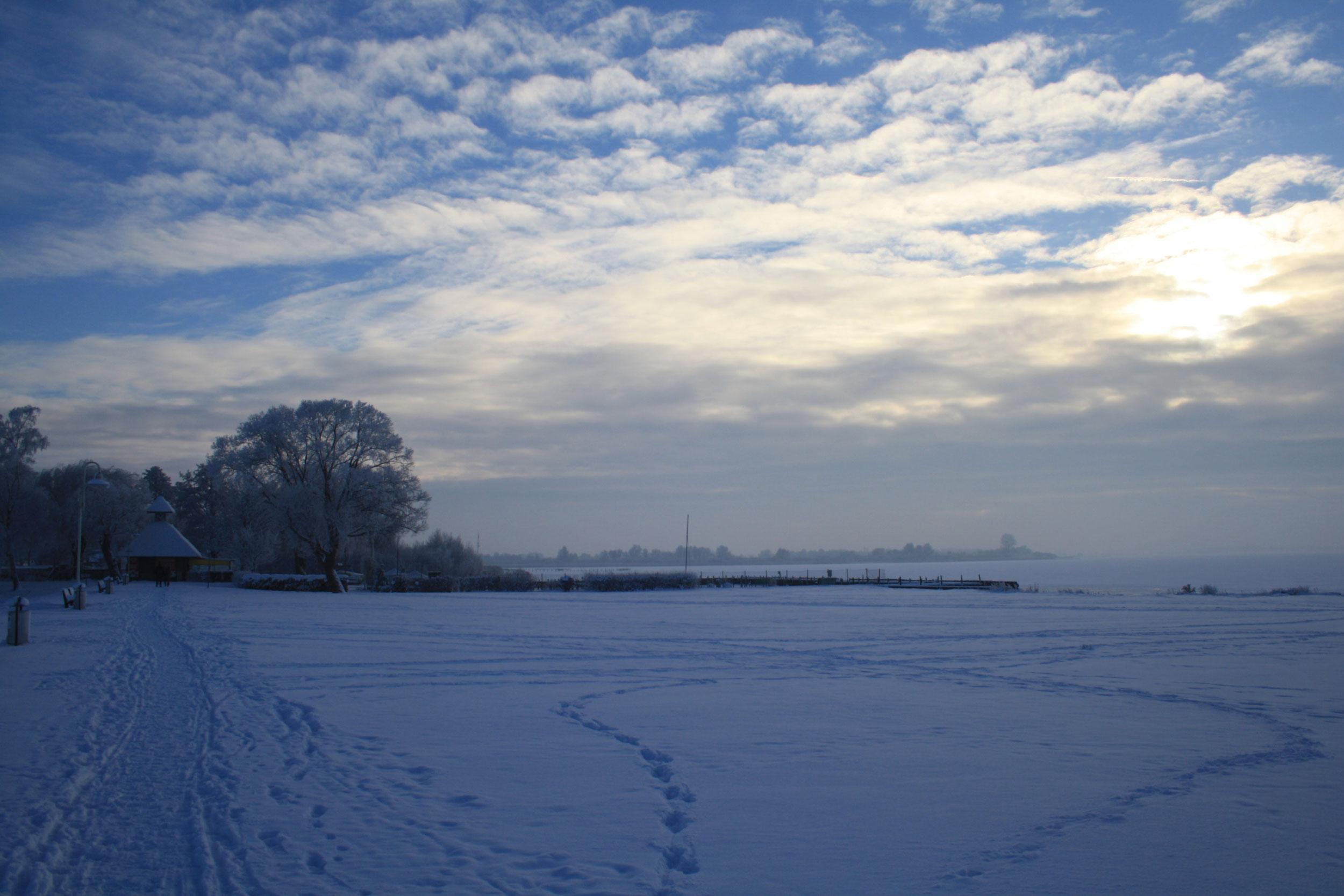 Blick vom Deich auf den zugefrorenen Dümmer See mit Schnee